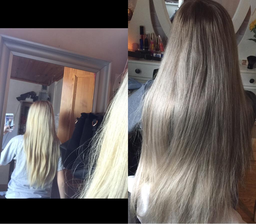 färga gult hår med askblond